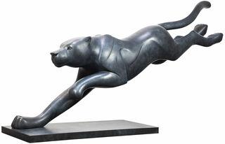 """Skulptur """"Springender Puma"""", Bronze grau/schwarz"""