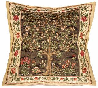 "Kissenhülle ""Tree of Life"" (Version braun) - nach William Morris"