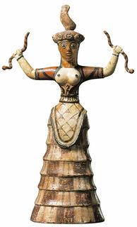 "Statuette ""Die Schlangengöttin"", Kunstguss handbemalt"