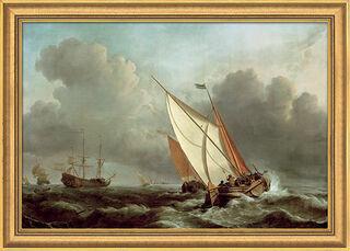 """Bild """"Schiff in stürmischer See"""" (1671), gerahmt"""