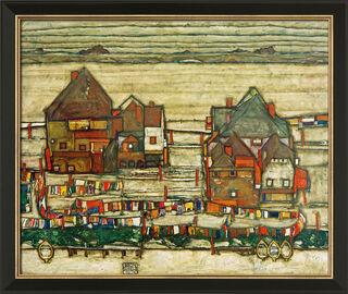 """Bild """"Häuser mit bunter Wäsche (Vorstadt II)"""" (1914), gerahmt"""