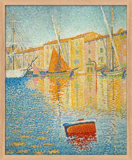 """Bild """"La Bouée rouge (Die rote Boje im Hafen von Saint-Tropez)"""" (1895), Version naturfarben gerahmt"""