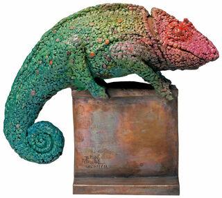 "Skulptur ""Chamäleon VIII/IX"", Bronze handbemalt"