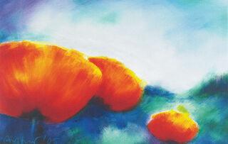 """Bild """"Landschaft mit Mohnblumen"""", auf Keilrahmen"""