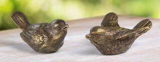 """2 Gartenskulpturen """"Vogelpaar"""" im Set, Bronze"""
