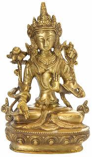 """Messingskulptur """"Weiße Tara - Hüterin der Weisheit"""""""