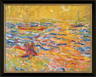 """Bild """"Flusslandschaft"""" (um 1907), Version schwarz-goldfarben gerahmt"""