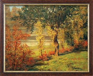 """Bild """"Ufer unter Bäumen und Büschen"""" (1900), gerahmt"""
