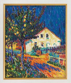 """Bild """"Dorfstraße mit Apfelbäumen"""" (1907), Version weiß-goldfarben gerahmt"""
