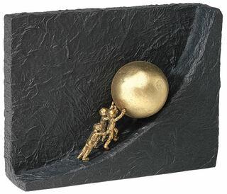 """Skulptur """"Zusammen etwas bewegen"""", Bronze mit Kunststein"""