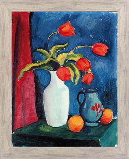 """Bild """"Rote Tulpen in weißer Vase"""" (1912), gerahmt"""