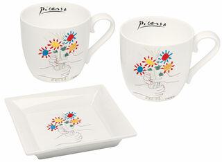 """3-teiliges Porzellanset """"Hände mit Blumenstrauß"""""""