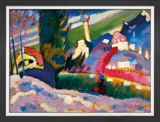 """Bild """"Winterlandschaft mit Kirche"""" (1910-1911), Version schwarz-silberfarben gerahmt"""