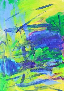 "Bild ""Komposition grün, blau"" (2021) (Unikat)"