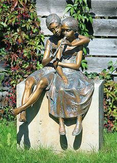"""Gartenskulptur """"Paar mit Flöte"""" (ohne Sockel), Bronze"""
