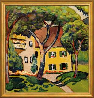 """Bild """"Staudacherhaus in Tegernsee"""" (1910), Version goldfarben gerahmt"""