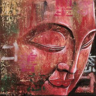 """Bild """"Kleiner Buddha, rot"""", auf Keilrahmen"""