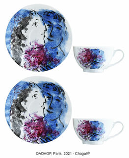 "Kollektion ""Les Bouquets de fleurs"" von Bernardaud - 2 Teetassen mit Untertassen im Set, Porzellan"