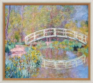"""Bild """"Brücke in Monets Garten"""" (1900), Version hell gerahmt"""