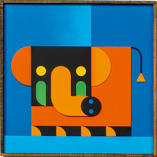 "Bild ""ELEFANT KIND orange/blau"" (2020)"