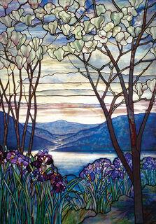 """Wandobjekt """"Magnolien und Schwertlilien"""", Glas - nach Louis C. Tiffany"""