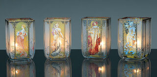 """Jugendstil-Teelichter """"Vier Jahreszeiten"""", Glas"""