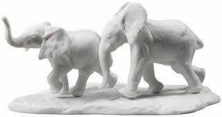"""Porzellanskulptur """"Elefantenpaar"""" - Design Ernest Massuet"""