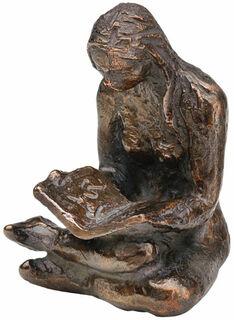 """Skulptur """"Buchleserin"""", Metallguss"""