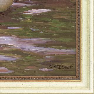 """Bild """"Entenvolk unter Birkenzweigen"""", gerahmt"""