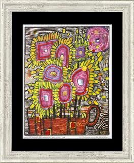 """(981) Bild """"Strauß - Blumenstrauß (Hommage à van Gogh), schwarz"""" (1998), gerahmt"""