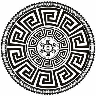 """Teppich """"Black and White"""" im Art Déco-Stil (rund, Ø 150 cm)"""