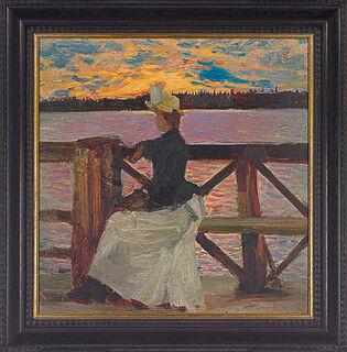 """Bild """"Marie Gallén auf der Kuhmoniemi-Brücke"""" (1890), gerahmt"""