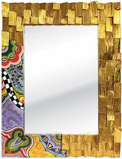"""Wandspiegel """"Golden Wood"""", handbemalt"""