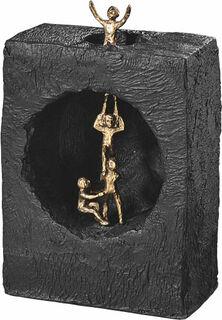 """Skulptur """"Sich gegenseitig helfen"""", Bronze mit Kunststein"""
