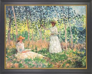 """Bild """"Suzanne und Blanche Hoschedé beim Lesen und Malen"""" (1890), gerahmt"""