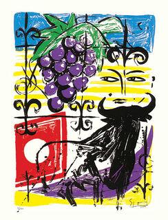 "Bild ""Grapes and Bull"" (2000), ungerahmt"