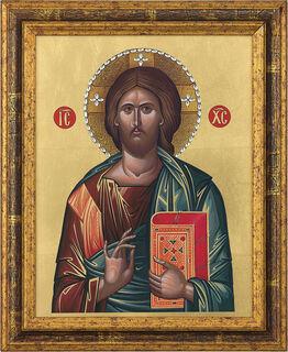 "Bildikone ""Christus Pantokrator"" mit Swarovski-Kristallen, gerahmt"