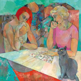 """Bild """"Kartenlegerin"""" (Original / Unikat), auf Keilrahmen"""