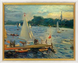 """Bild """"Segelboote auf der Alster am Abend"""" (1905), gerahmt"""