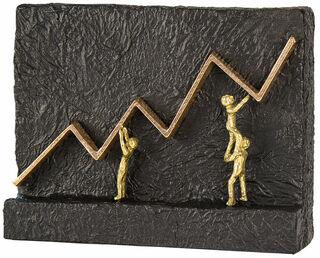 """Skulptur """"Mit vereinten Kräften zum Erfolg"""", Bronze mit Kunststein"""