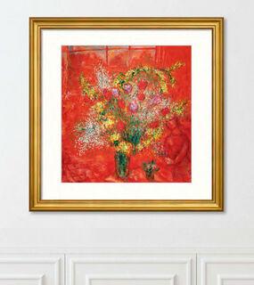 """Bild """"Fleurs sur fond rouge"""" (1970), gerahmt"""