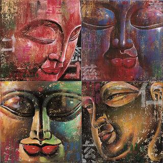 4 Buddha-Bilder im Set, auf Keilrahmen