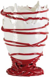 """Vase """"Pompitu II weiß-rot"""", Silikon"""