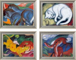 4 Tierbilder im Set, gerahmt