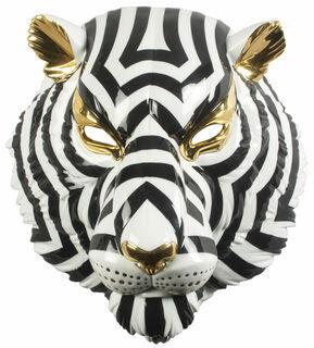 "Wandobjekt ""Tiger Mask Black and Gold"", Porzellan"