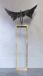 """Skulptur """"Icarus"""", Bronze auf Stele"""