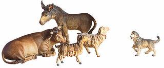 """Krippenfiguren """"Ochse, Esel, Schaf, Ziege und Hund"""", Holz handbemalt"""