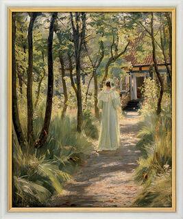 """Bild """"Marie, die Frau des Künstlers, auf einem Gartenweg"""" (1895), gerahmt"""