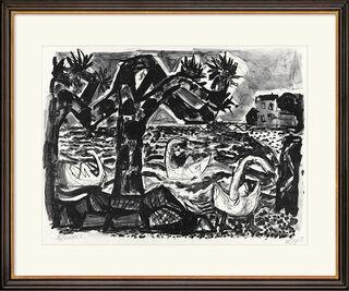 """Bild """"Bodenseelandschaft (mit Schwänen)"""" (1965)"""