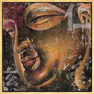 """Bild """"Kleiner Buddha, gold"""", gerahmt"""